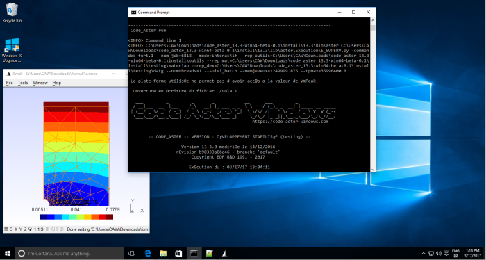 Code_Aster running on Windows 10 64-bit