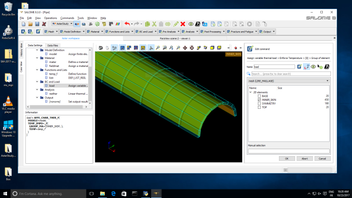 Boundary condition group preview in Salome-Meca AsterStudy module on Windows
