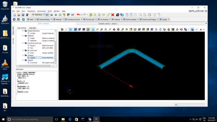 Visual study descriprion in Salome-Meca AsterStudy module on Windows