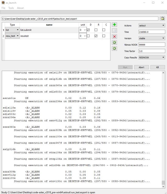 Running testcases for Code_Aster 14.4 validation