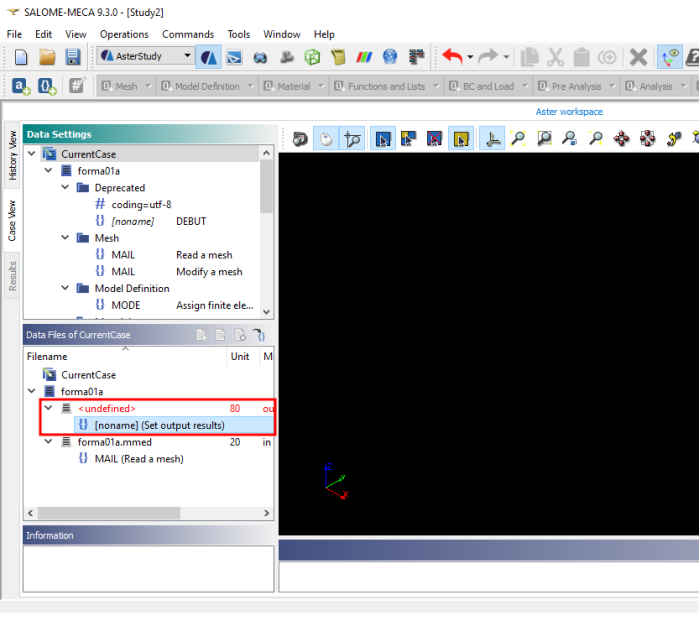 define output file on AsterStudy 2019